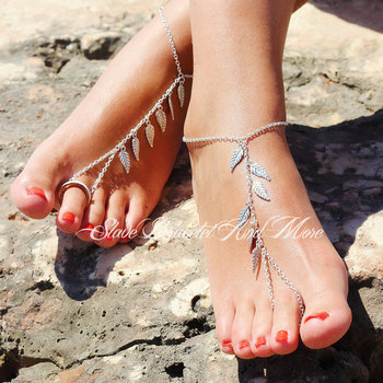 2017 New Alloy Leaf Leaves Tassels Anklet Chain Simple Sandy Beach Bohemia Foot Ankle Bracelets For The Feet Bijoux De Pied Gift 4