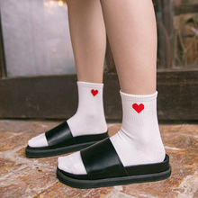 New Fashion Women Cotton Scoks Autumn Winter Red Love Solid Color Girl Casual School Style Socks Harajuku Street Tide for Ladies