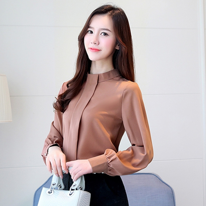 BIBOYAMALL Black Blouse Women Chiffon Office Career Shirts Tops Spring Fashion Casual Lo ...