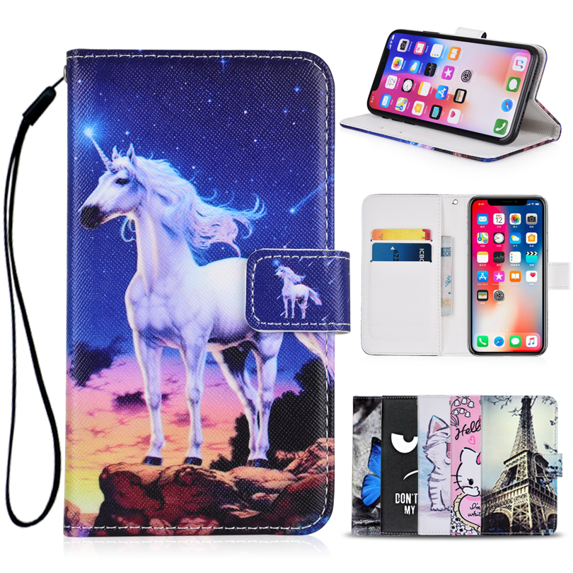 Cartoon Wallet Case for Philips Xenium V387 PU Leather Fashion Lovely Unicorn Cat Owl Butterfly Kickstand Book Cover Phone Bag image