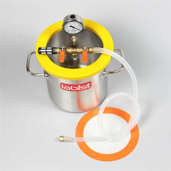 "1.6 Gallon 200mm 7.8"" Stainless Steel Vacuum Degassing Chamber, Polycarbonate Lid 1"