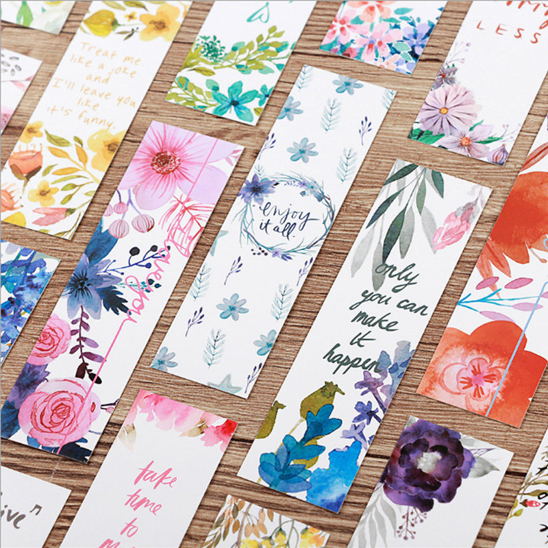 30 Pcs/box Beautiful Flowers Bookmark Paper Cartoon Animals Bookmark Promotional Gift Stationery Bookmark Stationery
