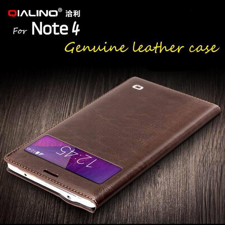 Цена за QIALINO Горячий Стиль Высокое Качество Натуральная Кожа Аргументы За Крышки Samsung Galaxy Note 4 Мобильный Телефон Оболочки Окно Чехол для примечание