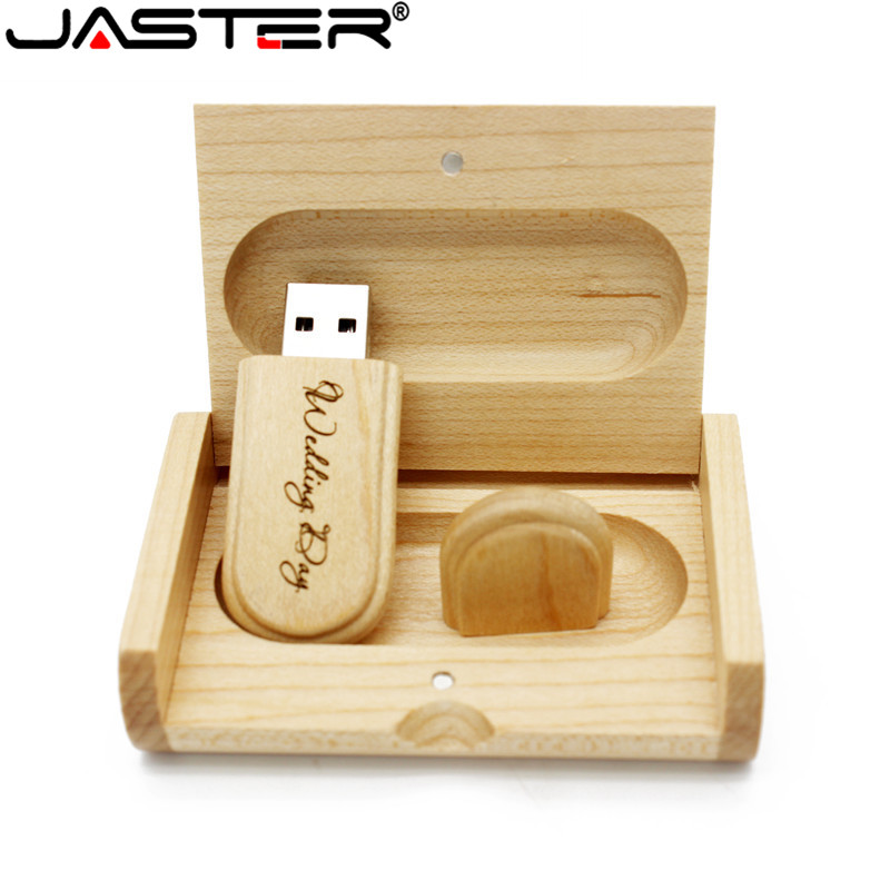 Image 4 - JASTER customer LOGO laser engraving wooden+Box pendrive 8GB 16GB 32GB 64GB USB Flash Drive photography gift (10 PCS Free LOGO)-in USB Flash Drives from Computer & Office
