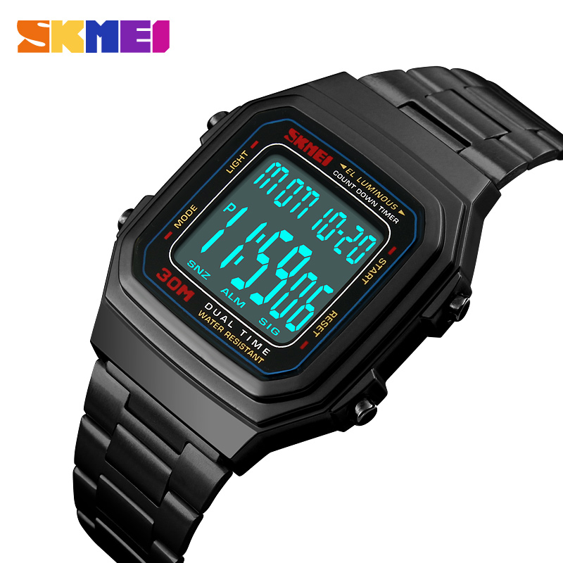 Luxury Brand SKMEI Watch Men Countdown Electronic Digital Sports Watches 30M Waterproof Outdoor LED Men Watch Relogio Masculino outdoor sports watches men skmei brand countdown led men s digital watch altimeter pressure compass thermometer reloj hombre