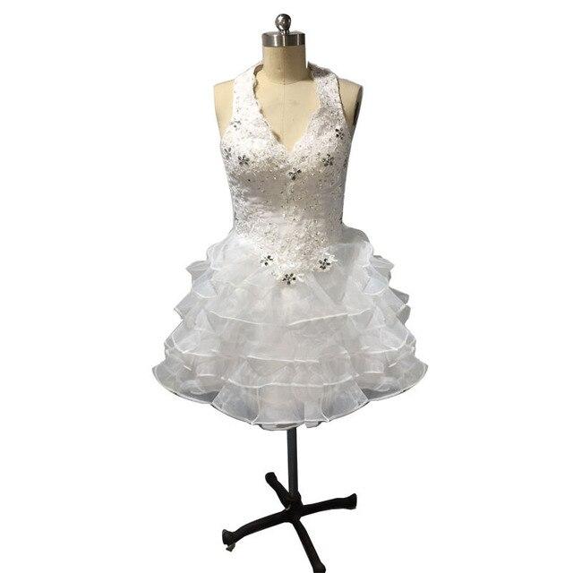 SoDigne Short Wedding Dress Halter Applique Lace Beaded Ruffles ...