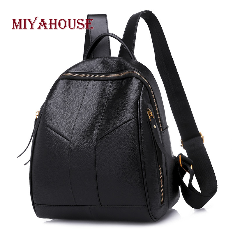 Miyahouse Hot Sale Women Pu Leather Backpacks Fashion Korean Zipper Travel Rucksack Female Casual Portable School Bag For Girl