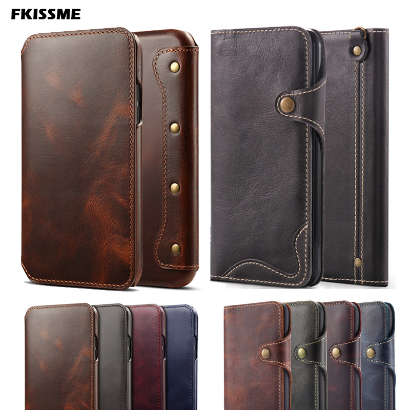 Retro Handmade Luxury Genuine Leather Case for iphone 7 8 Plus 6 6S X XR Wallet Flip Case For iphone XS MAX Cover Phone Handbag