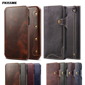 Retro Handmade Phone Cover Luxury Genuine Leather Case for iphone 11 PRO MAX 6S 7 8 Plus Wallet Flip Case For iphone XS MAX X XR