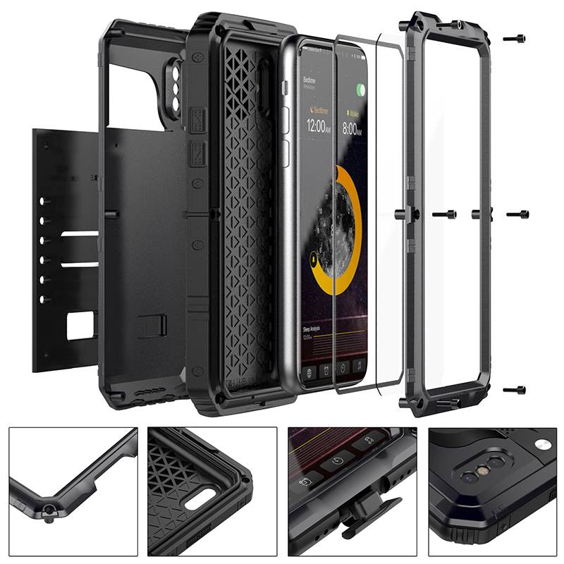 Anti Shock Hybrid Tough Heavy Metal Shockproof Armor Case For iPhone X 8 7 6 6S Plus 5 5S SE Protective Cover With Glass Film