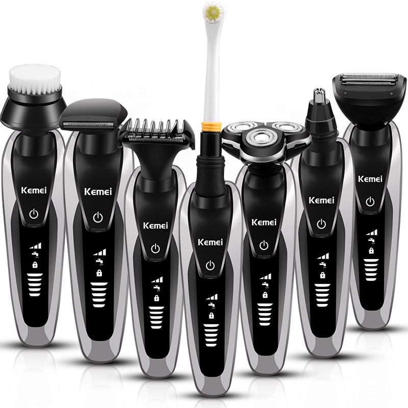 7 in 1 men s 3d floating rotary electric shaver beard trimmer rechargeable razor for men