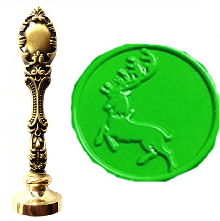 MDLG Vintage Christmas Deer Custom Picture Logo Luxury Wax Seal Sealing Stamp Brass Peacock Metal Handle Gift Set