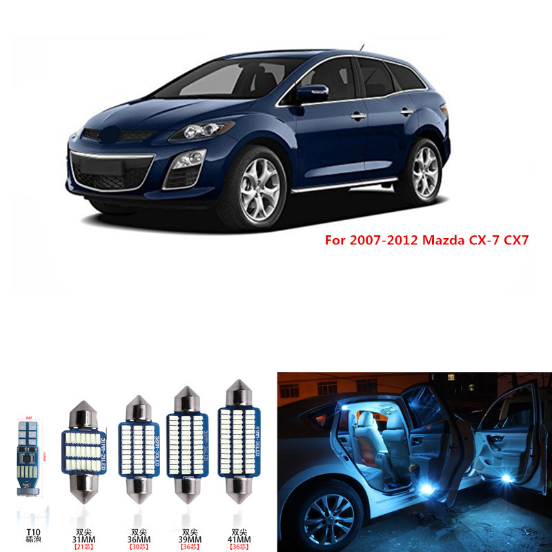 12pcs Canbus White LED Light Bulbs Interior Package Kit For 2007-2012 Mazda CX-7 CX7 Map Dome Trunk License Plate Lamp pink wljh 11x canbus 2835 smd led dome map interior light kit for chevrolet cruze equinox sonic malibu spark suburban traverse 2015