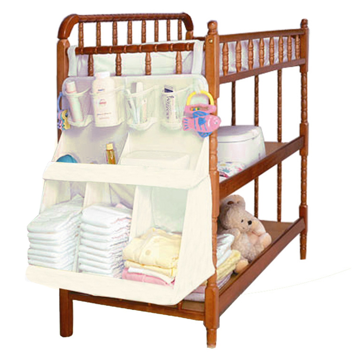 Baby bed accessories - Baby Bedding Set Accessories Waterproof Diapers Organizer Baby Crib Bed Hanging Bag Portable Storage Bag