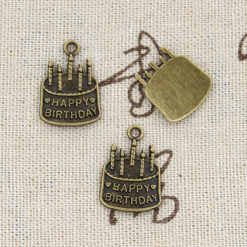 15pcs Charms birthday cake 18*15mm handmade Craft pendant making fit,Vintage Tibetan Bronze,DIY for bracelet necklace