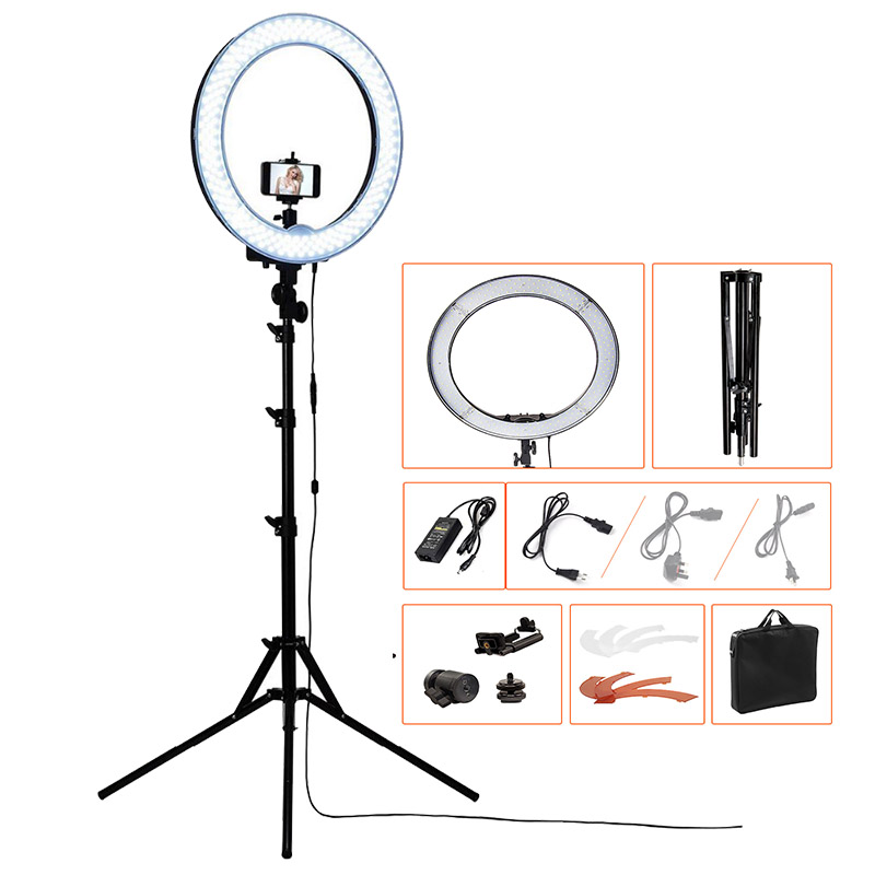 FOSOTO RL 18 240LED 5500K Dimmable Photography Photo Studio Phone Video Ring Light Lamp Tripod Stand