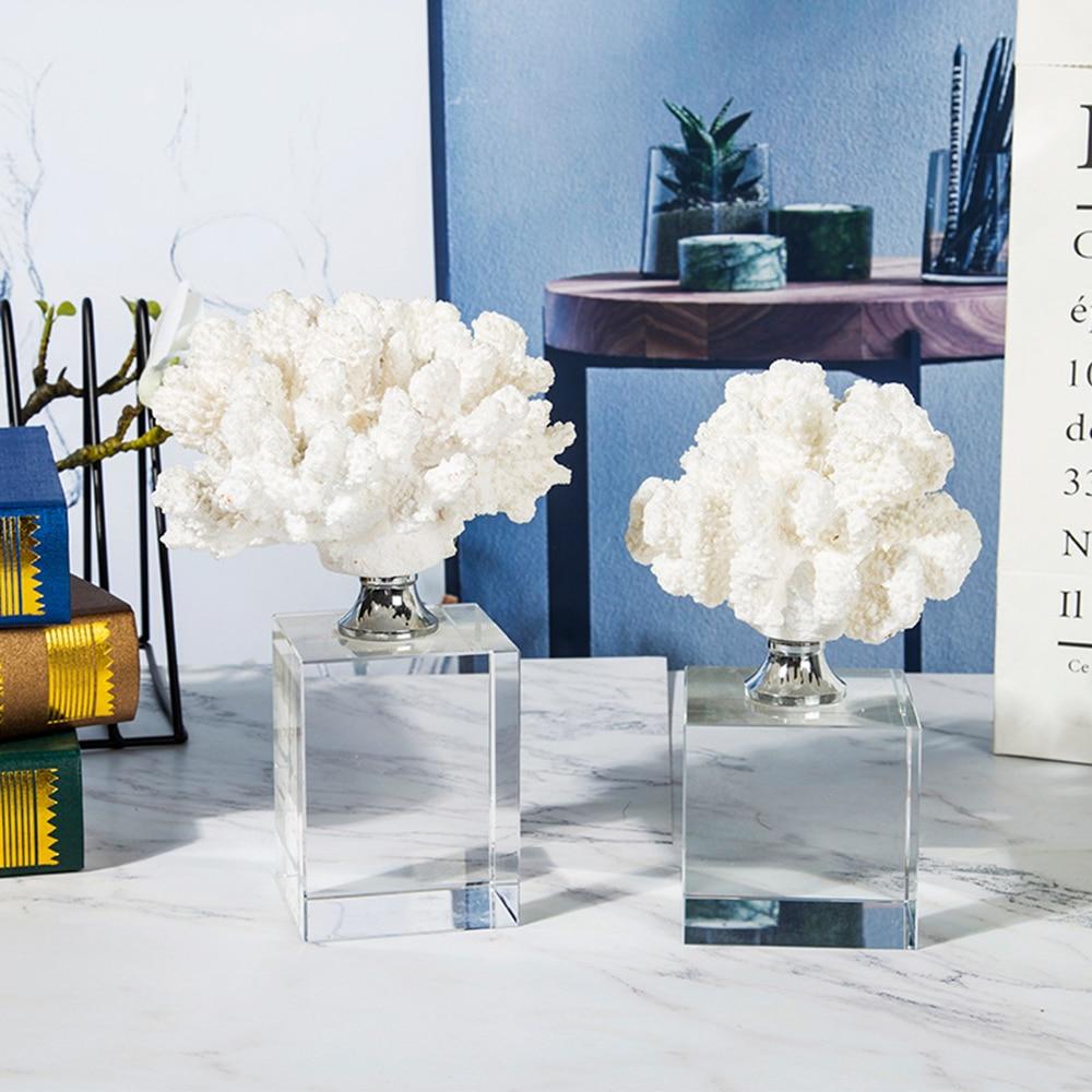 Plante corcristalline blanche arbre de corail naturel   Plante à fleurs Antipathes pot d'animaux aquatiques, aménagement paysager, ornements d'ameublement de maison