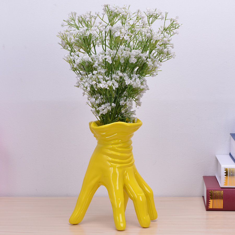 online get cheap yellow pot vase aliexpresscom  alibaba group -  new handmade creative white and yellow hand flower pot resin flowervase modern home decorations ornaments special gifts