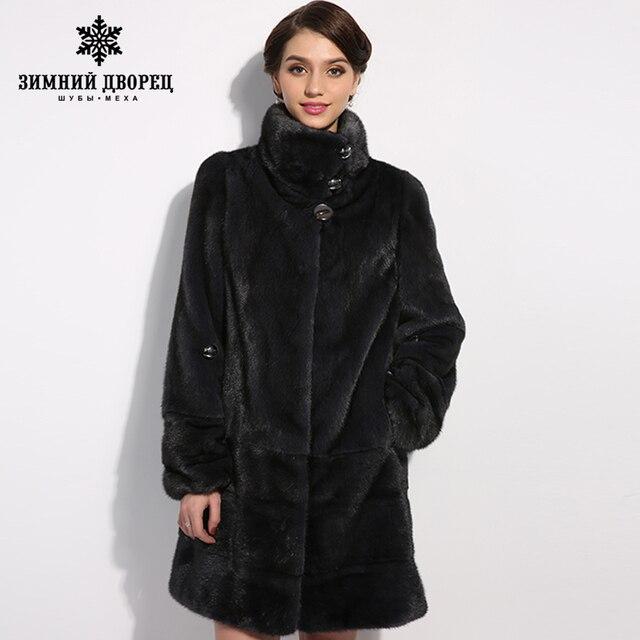 WINTER PALACE New style fashion fur coat,Genuine Leather,Mandarin Collar,good quality mink fur coat, women natural  coats of fur