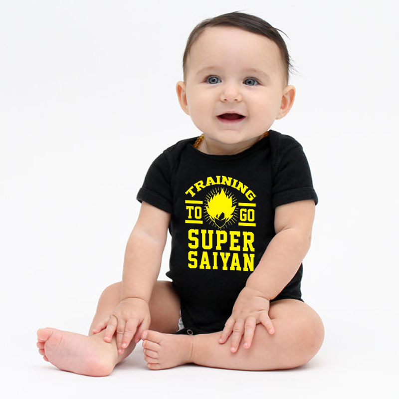 HY0081 Summer Short Sleeve Baby Rompers Training To Go Super Saiyan Funny Baby Boy Onesie