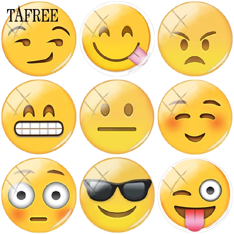 Tafree Interesting Smile Emoticons Picture Round Glass Cabochon 25mm