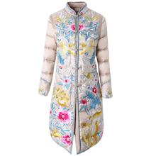 Embroidery down coat women jacket 2018 winter new style collar warm parkas mid long white duck down jacket High end female coat цена