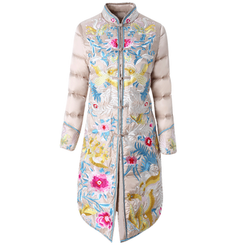 Embroidery down coat women jacket 2018 winter new style collar warm parkas mid long white duck down jacket High end female coat embroidery