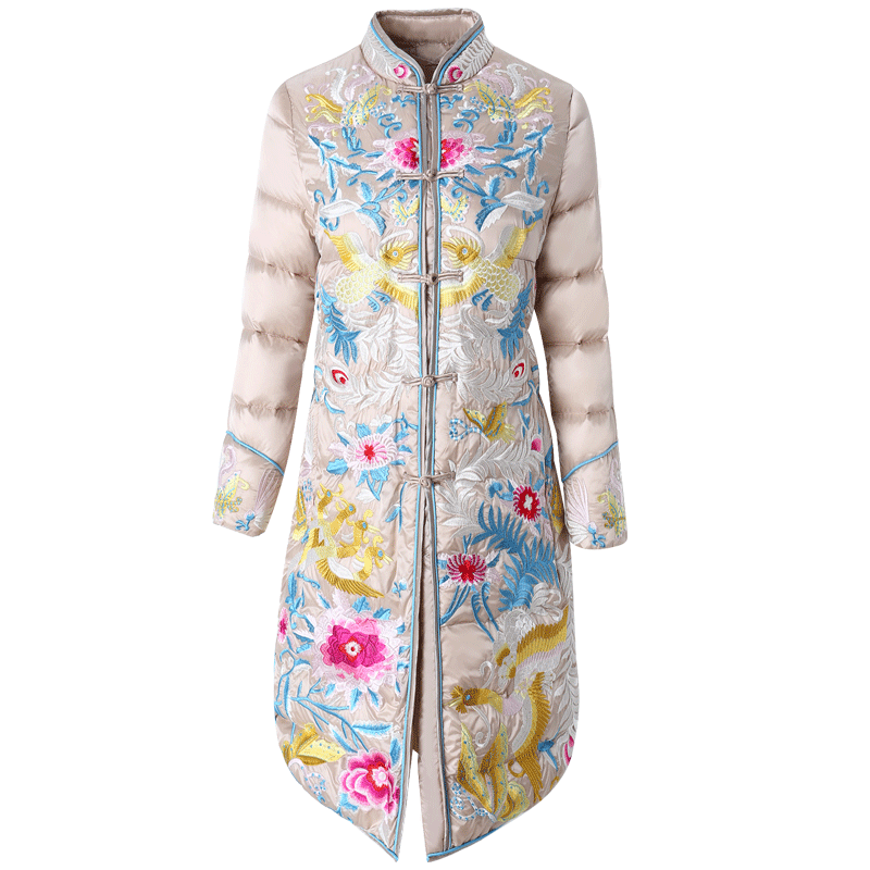 Embroidery   down     coat   women jacket 2018 winter new style collar warm parkas mid long white duck   down   jacket High end female   coat