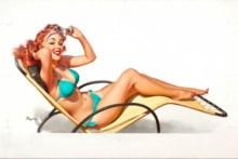 Home decoration pin up women models sexy babes bikini swimwear retro boobs cleavage Silk Fabric Poster Print  YR070