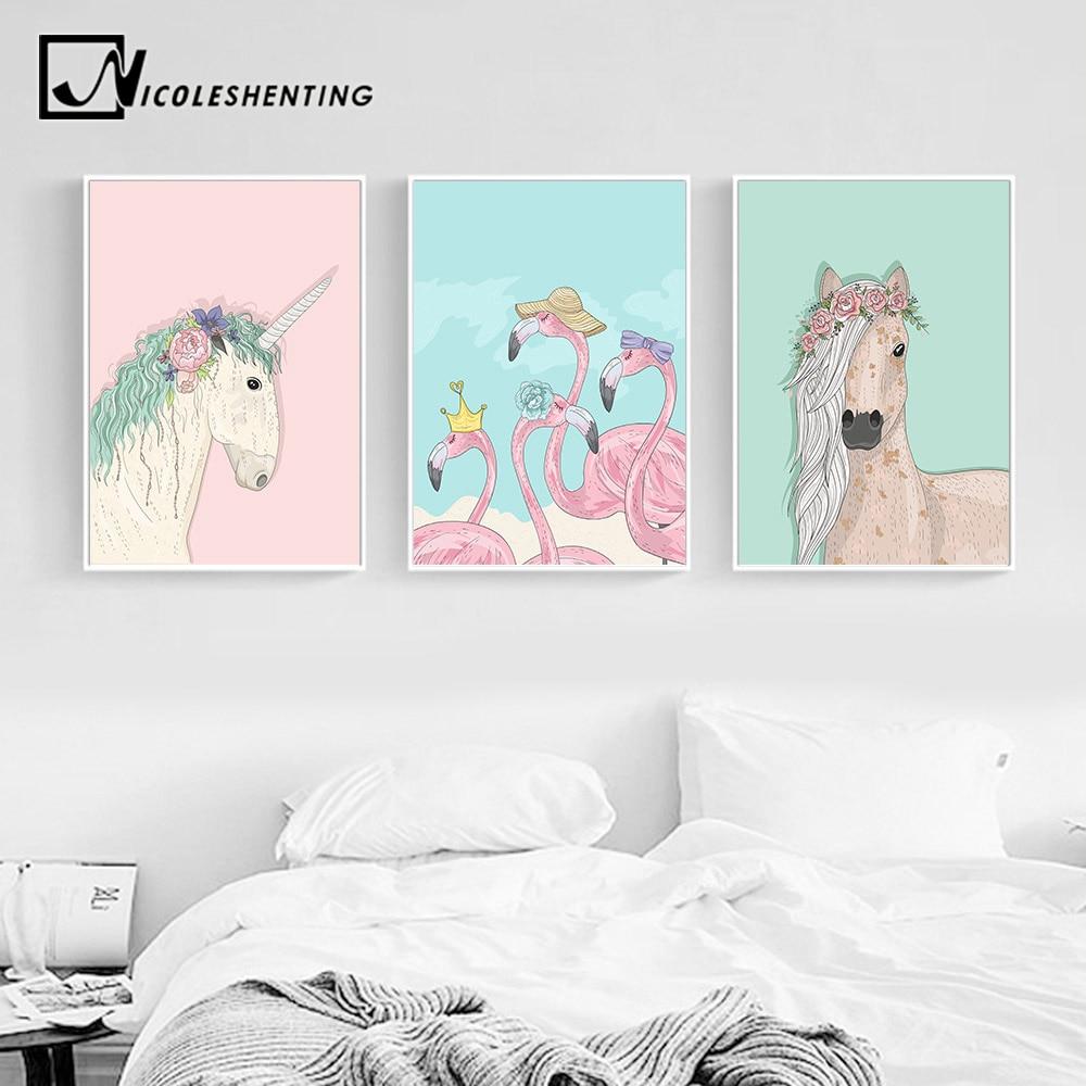 Deco Chambre Maryline Monroe licorne cheval flamingo mur art toile affiches et gravures