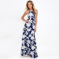 40 N692ZM Elegant Vintage Women Boho Dress 2017 Summer Sexy Sleeveless Floral Print Halter Maxi A