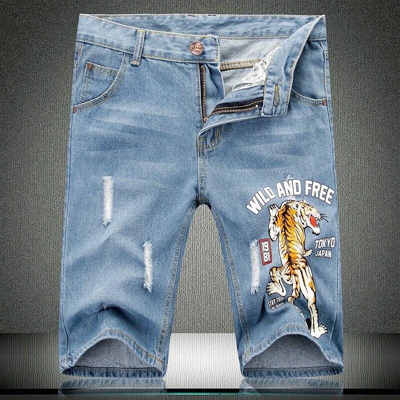Nouveau été Denim Shorts tigre imprimé motif hommes coton solide droit homme bleu court rayé effiloché genou longueur Jeans 532