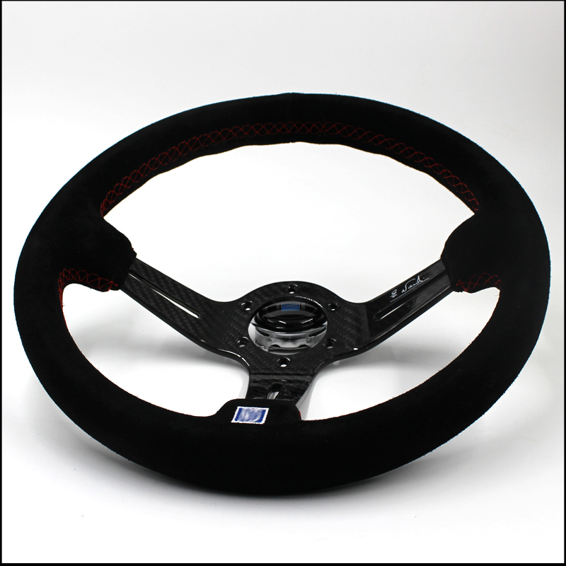 car styling E46 Steering-wheel 350MM Racing Aluminum Frame Light Weight carbon fiber suede Steering Wheel Modified Jdm Sport momo pai car styling steering wheel concave peach wood mahogany competitive racing retro abs universal steering wheel