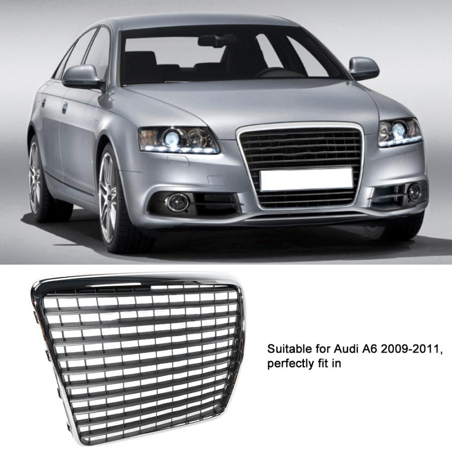 Front Bumper Grill Center Grille & License Plate Holder for Audi A6 2009 2010 2011 mesh grilleFront Bumper Grill Center Grille & License Plate Holder for Audi A6 2009 2010 2011 mesh grille