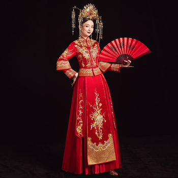 Elegant Slim Bride Wedding Dress Chinese Traditional Embroidery Women Cheongsam Marriage Suit Red Flower Novelty Qipao S-XXL
