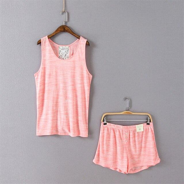 fd8e9d2c7 Verano Mujer Linda Rosa Conjuntos de pijama para las mujeres sueltan sexy  Encaje nuevo Pijamas Tops