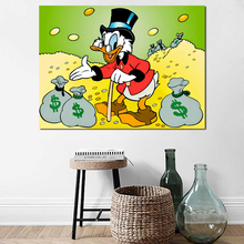 Scrooge Mcduck Minting Money With Moneybags Art Canvas Poster Painting Wall Picture Print Modern Home Bedroom Decoration Artwork