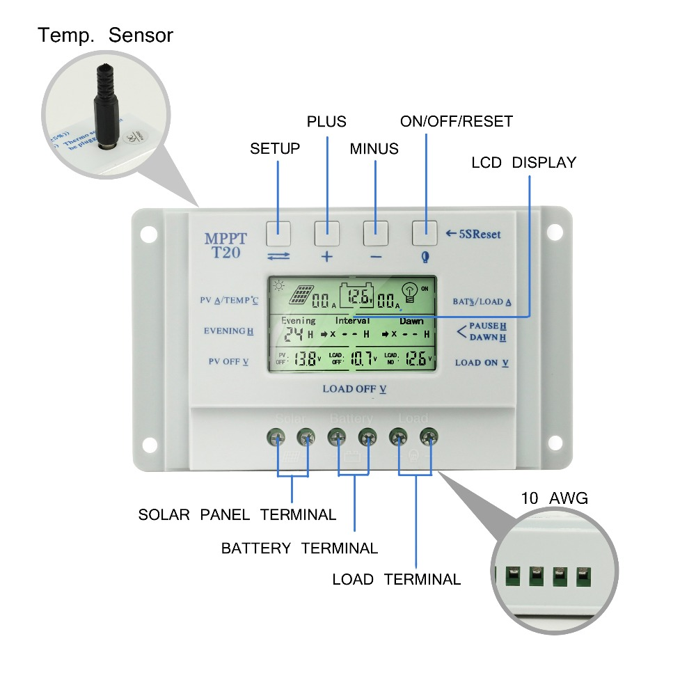 20A Solar Charge Controller Solar Panel Controller With LCD Display for 12V 24V Auto Dual Timer Function Solar Regulator T20 in Solar Controllers from Home Improvement