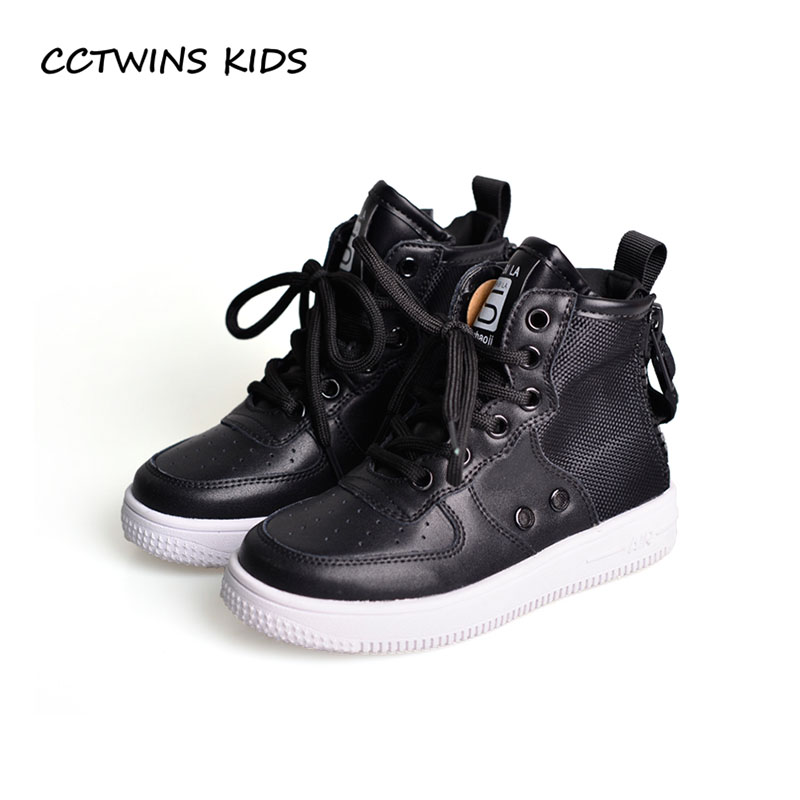 купить CCTWINS KIDS 2018 Autumn Boy High Top Sneaker Children Pu Leather Trainer Baby Girl Fashion Casual Sport Shoe Black FH2255 по цене 1763.16 рублей