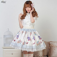 Ainclu Sweet Princess Lolita Lace Skirts Blue Cute Soft Rabbit Printed Polyester Pleated Cosplay Lolita Skirts XS XXL
