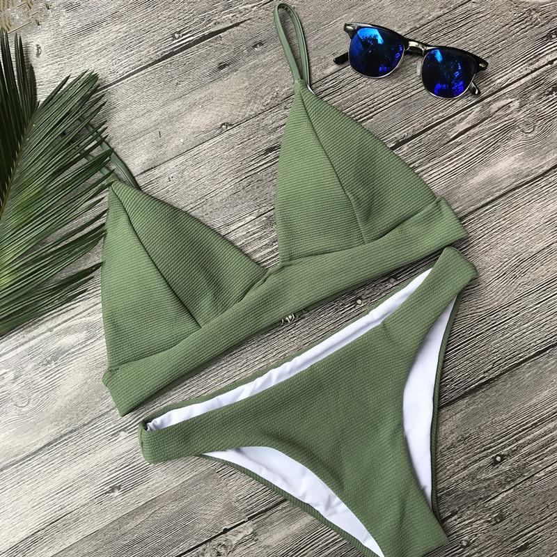 Melphieer Green Bikini Sexy Women Swimming Suit Solid Swimsuit Swimwear Bikinis Bathing Suit Maillot De Bain Swim Beach Wear