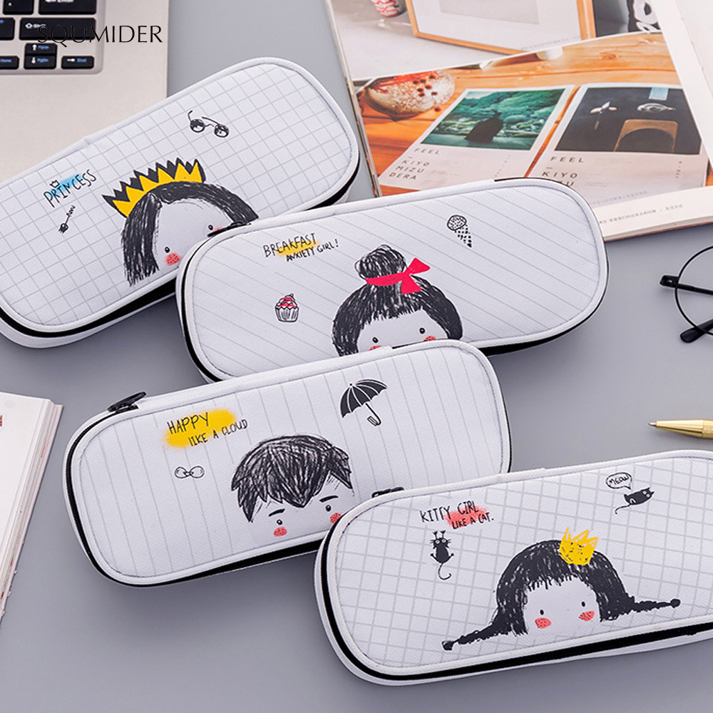 Creative Hand-painted Cartoon Pencil Case Animal High-capacity Pen Box For Boys&Girls School Stationery Supplies