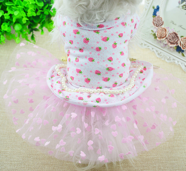 1pcs pet dog cat fashion lovely princess dress doggy spring summer pearl skirts clothes puppy dresses costume pets accessories