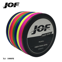 New JOF 1000M Brand Super Strong Multifilament PE Braided Fishing Line 4 Strands Super Strong 18