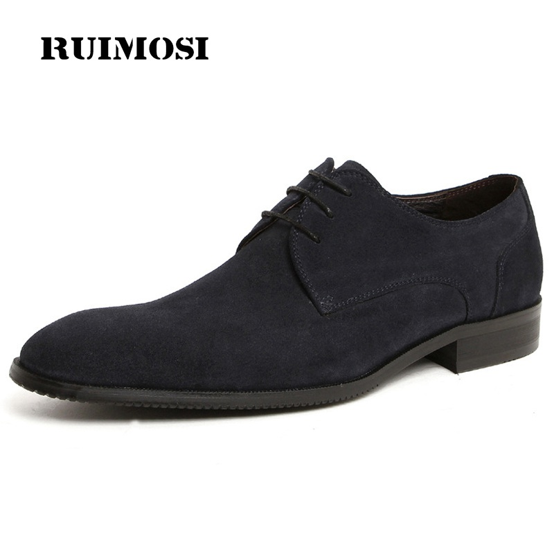 RUIMOSI Formal Man Suede Round Toe Derby Dress Shoes Male Genuine Leather Oxfords Luxury Brand Men's Bridal Footwear JD68