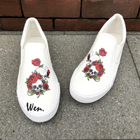 Wen Design Skulls Red Roses Floral Vines Unisex Adults Canvas Shoes Slip On Flats Skateboard White