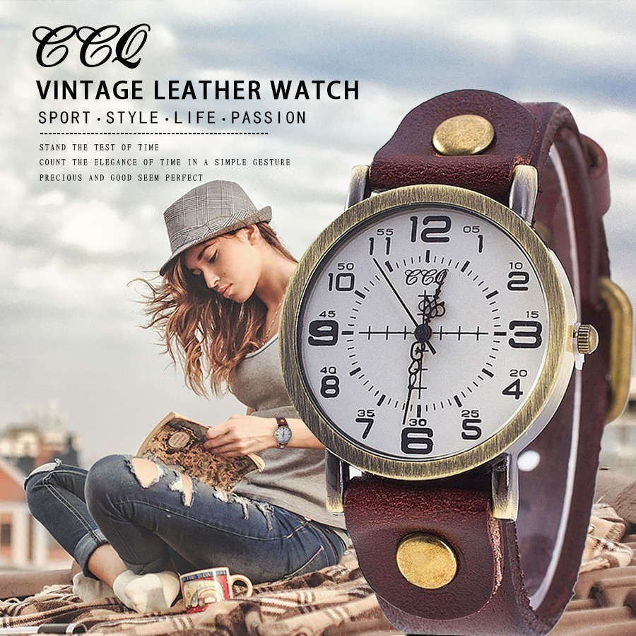 CCQ Vintage Cow Leather Bracelet Watch Women
