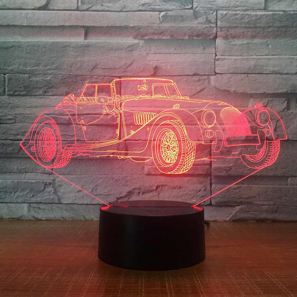 Jeep Desk Lamp Creative 3D LED Colorful Gradients Car Shaped USB Night Lights Mood Bedside Sleep Lighting USB Bedroom Decor Gift