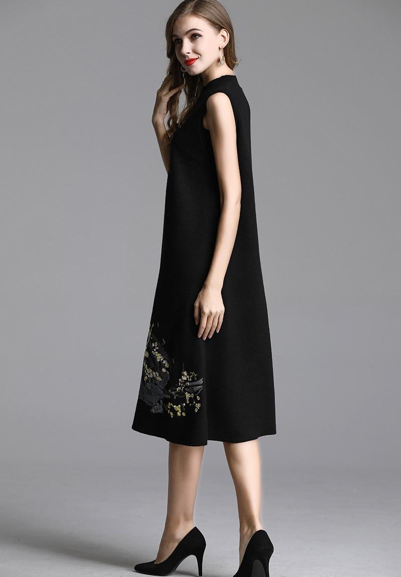 Vintage Tricot Chinois Élégante Noir Cachemire Vêtements Femmes Broderie Robe Traditionnel D'hiver qBFfR