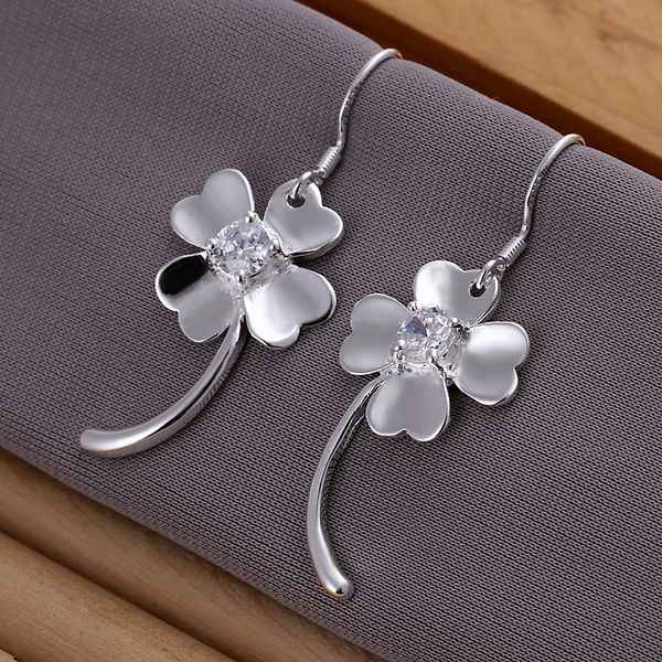 Wholesale High Quality Jewelry 925 jewelry silver plated Inlaid Four-leaf Clover Earrings for Women best gift SMTE162